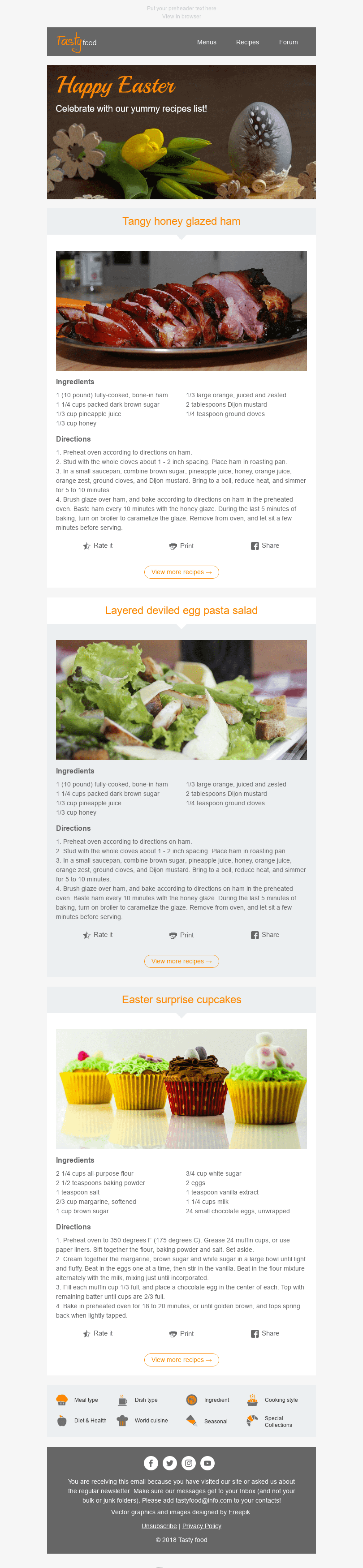 "Easter Email Template ""Best Recipes"" for Food industry desktop view"
