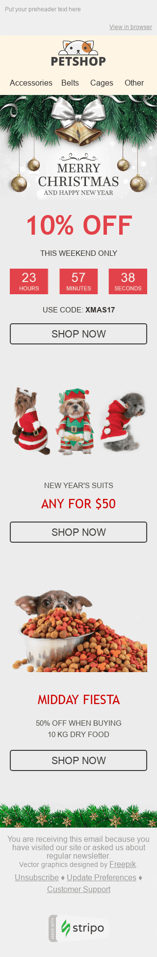 "Christmas Email Template ""Holiday Spirit"" for Pets industry mobile view"