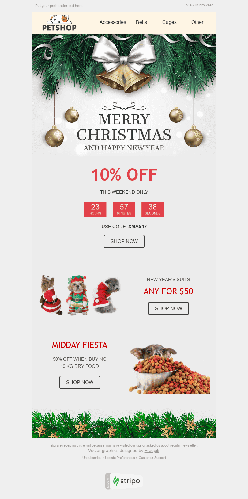 "Christmas Email Template ""Holiday Spirit"" for Pets industry desktop view"