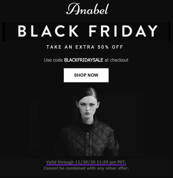 Exemple d'e-mail du Black Friday