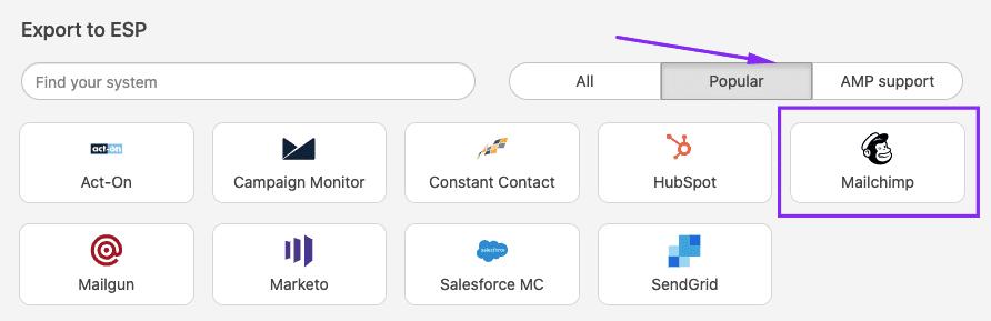 Choosing Mailchimp as Export Destination
