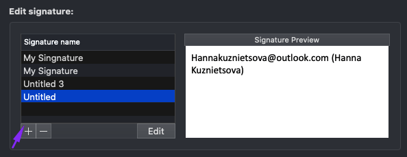 Clicking Plus to Start Creating a New Signature