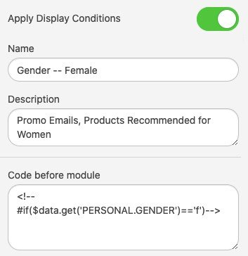 Conditions_Adding Conditions to Particular Email Elements_Gender Female