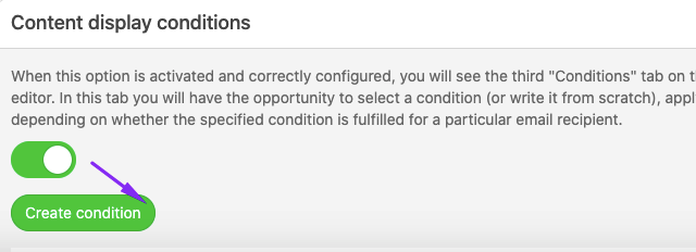 Content Display Conditions Section