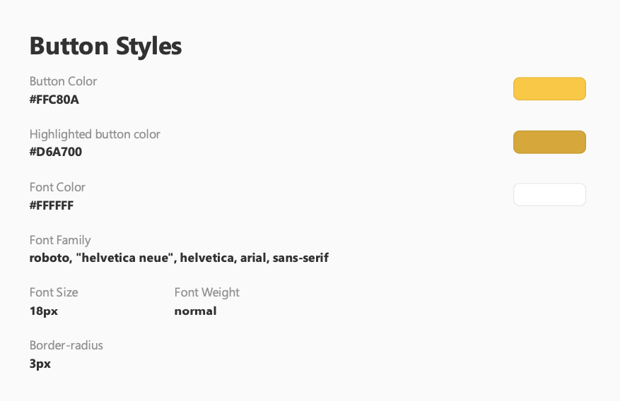 Desig Style Recommendations Divided into Sections