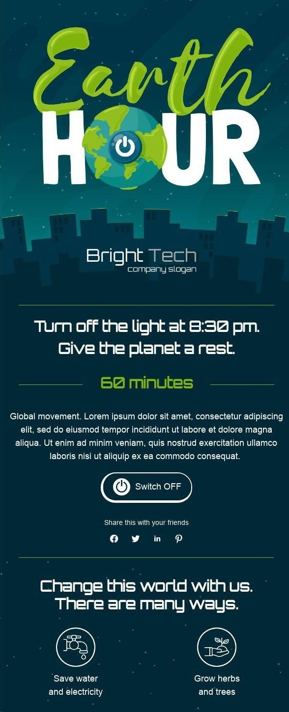 Earth Day Email Template Examples_Earth Hour