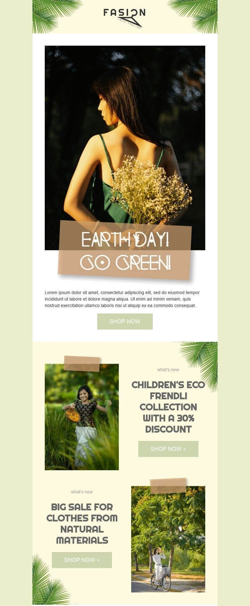Earth Day Email Template_Eco Friendly Materials for Production
