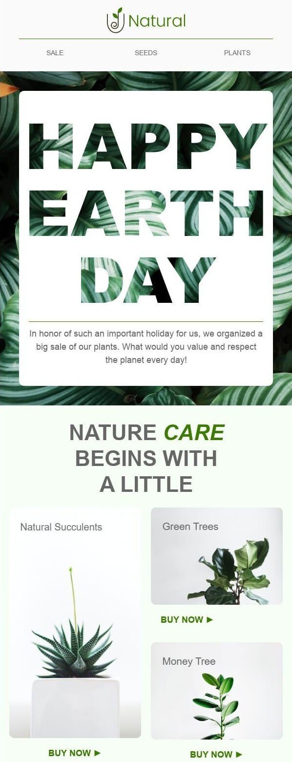 Earth Day Newsletter Ideas_Selling Plants_Stripo Template