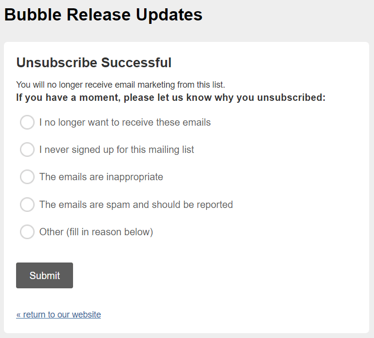 Effective Email Unsubscribe Page by Bubble_Stripo