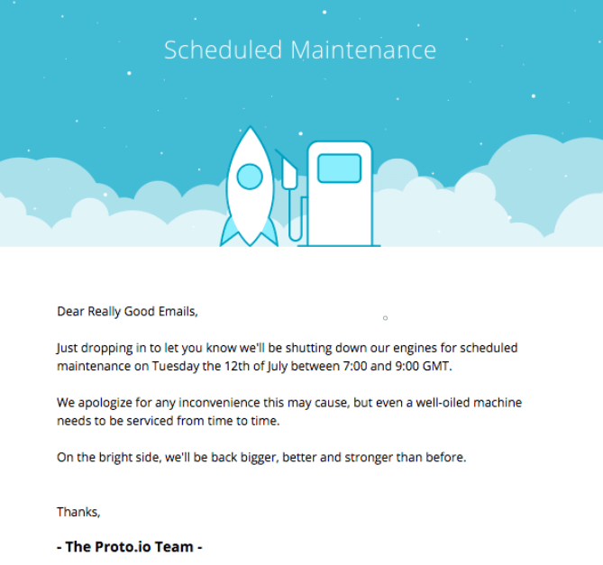 Notification Email Sample_Scheduled Maintenance