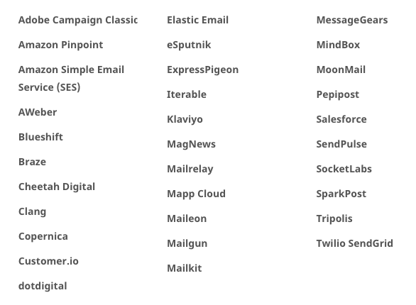 Email Platforms and Service Providers that Support AMP for Email_Table