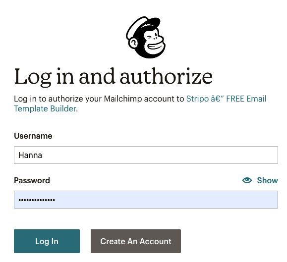 Exporting Emails to Mailchimp_Login Button