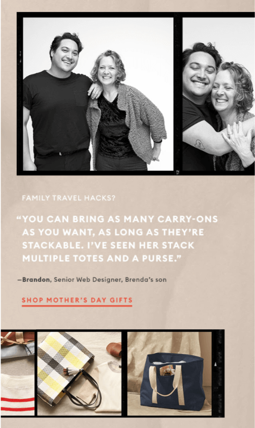 Family Photos in Mother's Day Emails