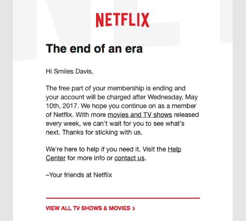 Follow-Up Emails by Netflix