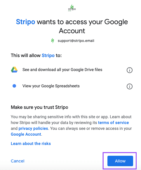 Giving Stripo Access to Google Sheets by Clicking the Allow Button