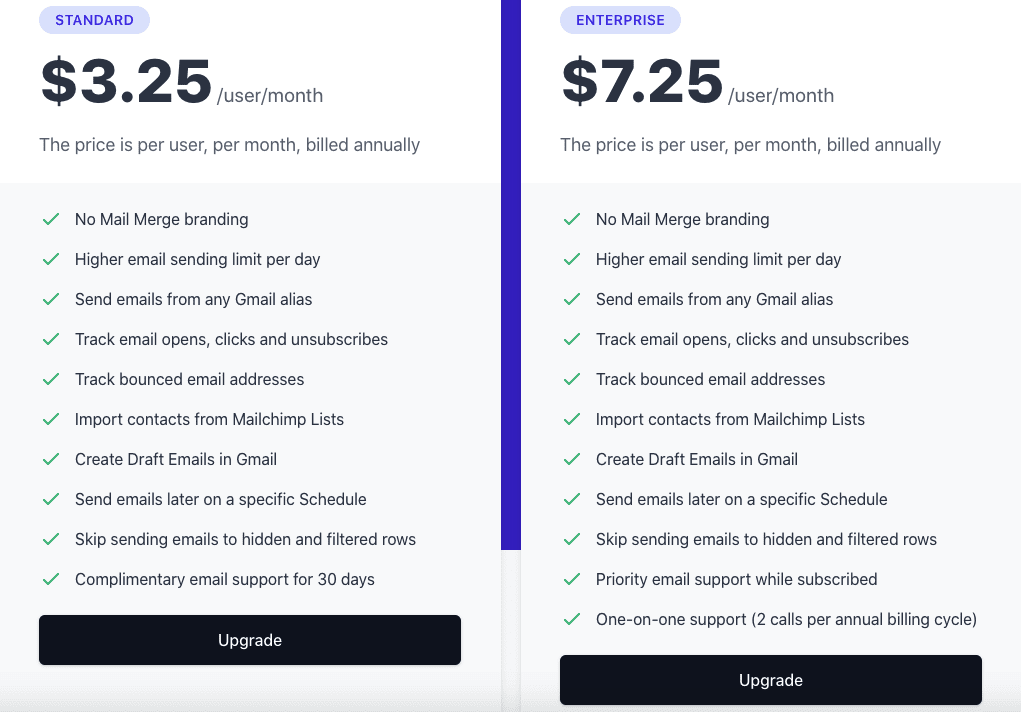 Mail Merge pricing plans