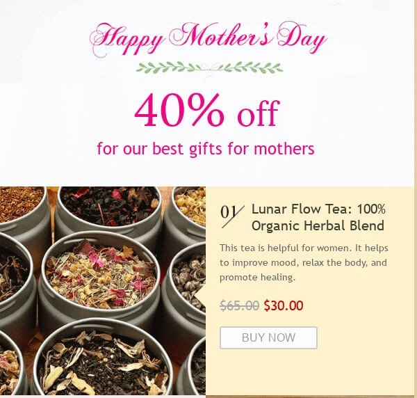Mothers Day Email Design Ideas_Letting Customers Buy with 1 Click