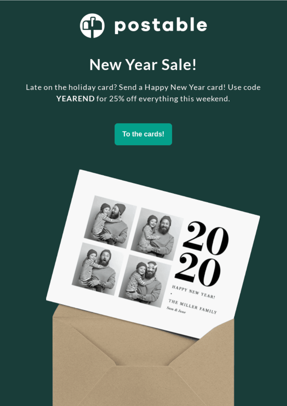 New Year Coupons in Emails