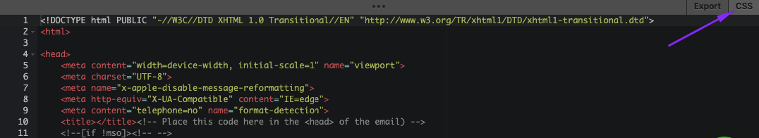 Opening the CSS Code Editor