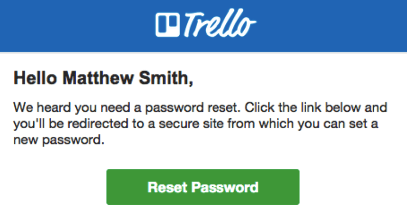Password Reset Emails by Trello
