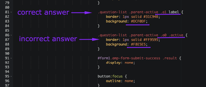 Replacing Colors for Answer Option Section
