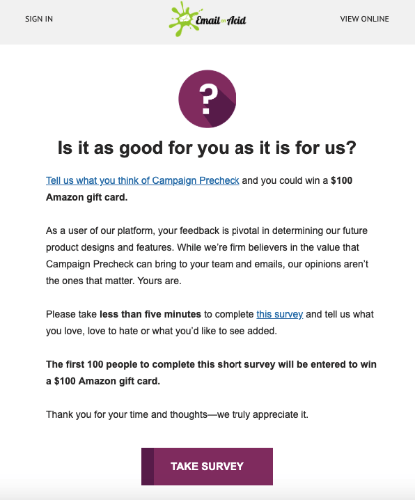 SaaS Email Markeitng Examples_Survey