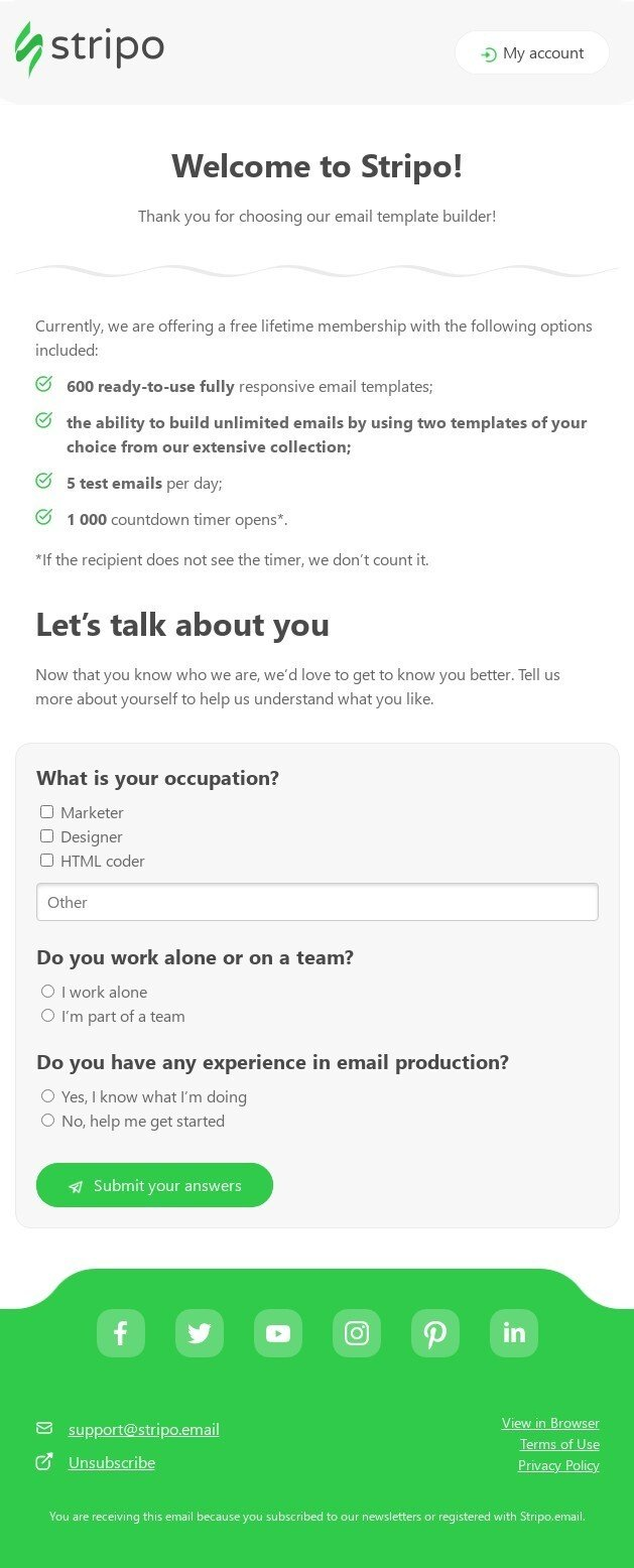 SaaS Welcome Email Example with a Survey Invitation