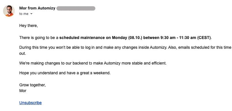 Scheduled Maintenance_Notication Email Examples