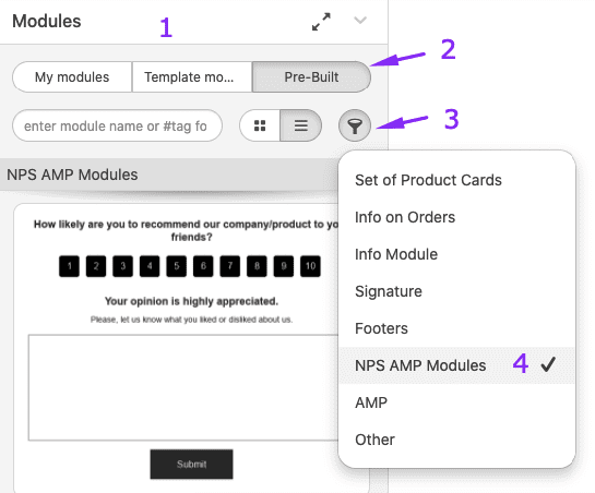 Selecting Modules with Net Promoter Score in Stripo