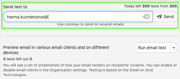 Sending Test Emails_Choosing the Send Test Email Option