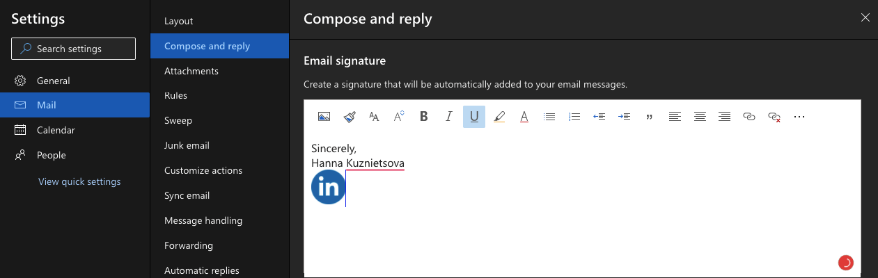 Settings Signature for Outlook com
