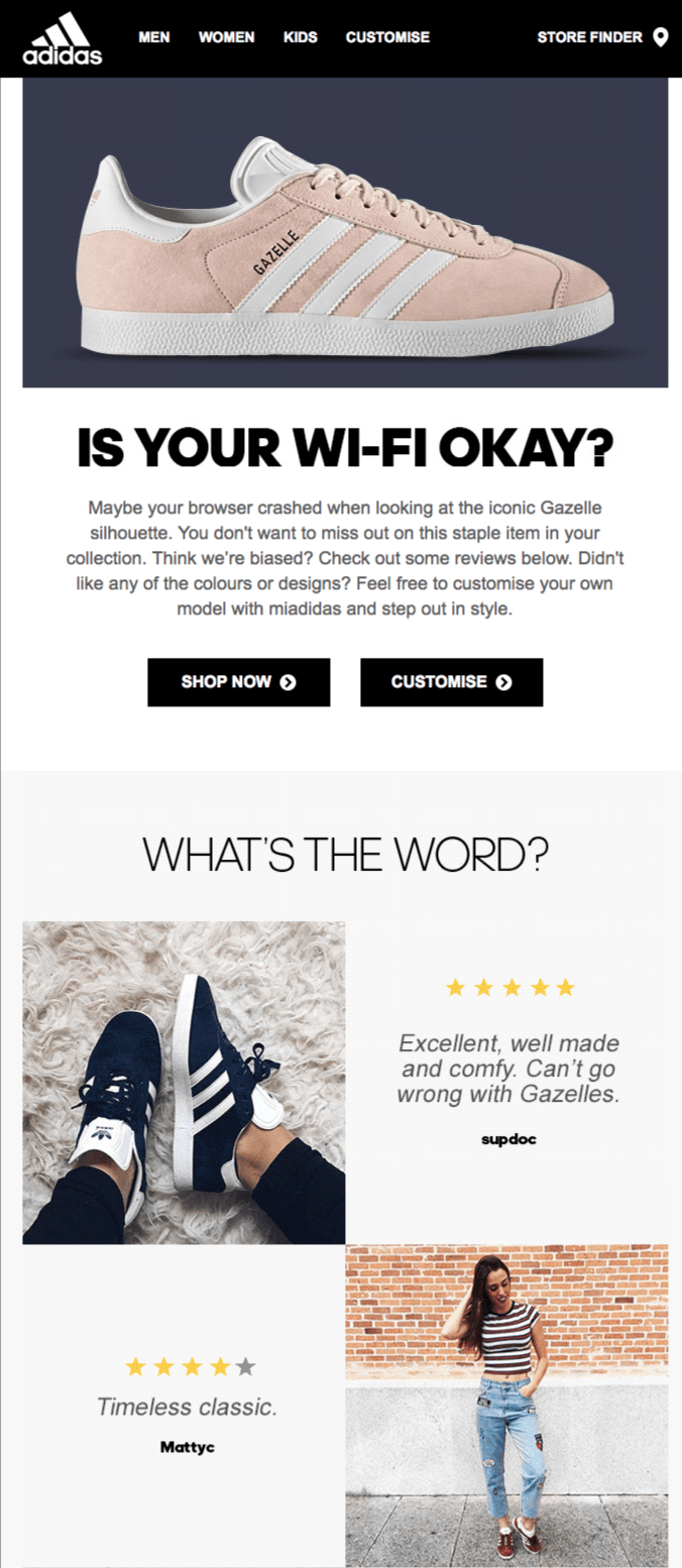 Social Proof in Abandoned Cart Emails by Adidas