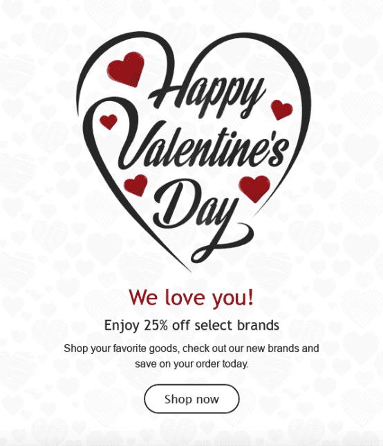 Емейлы-маркетинговые идеи на День святого Валентина. Пусть покупатели знают, что вы их любите.