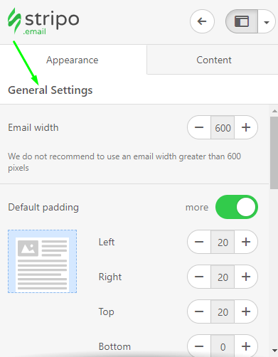 Stripo How to Build Email Setting General Settings