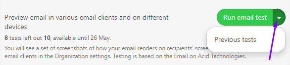 Stripo Testing Emails Viewing Previous Tests