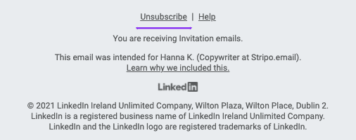 The Unsubscribe Button in Notification Emails_LinkedIn
