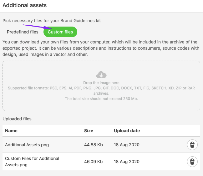 Uploading Custom Files for Additional Assets