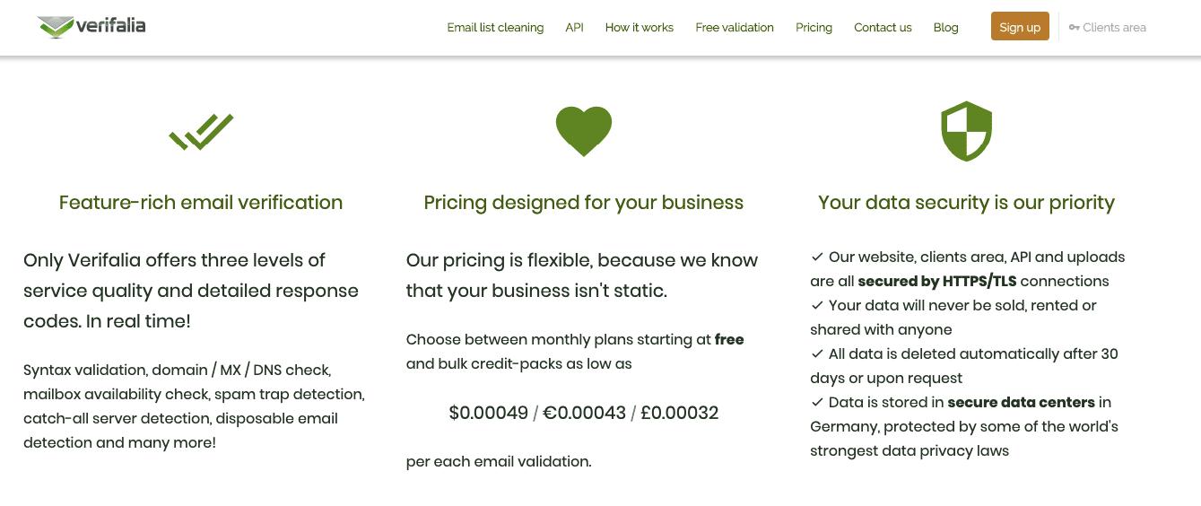 Verifalia_Screenshot of Landing Page