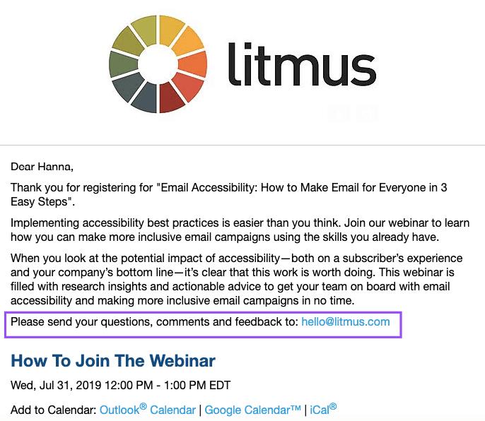 Webinar Confirmation Email