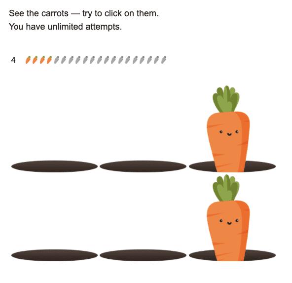 sistema de cenouras com feedback ruim