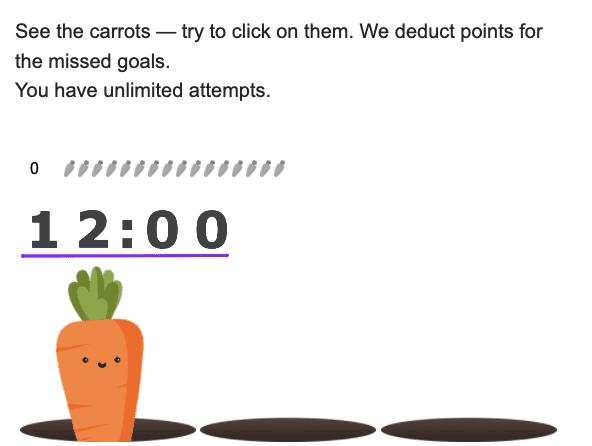 cenouras com cronômetro