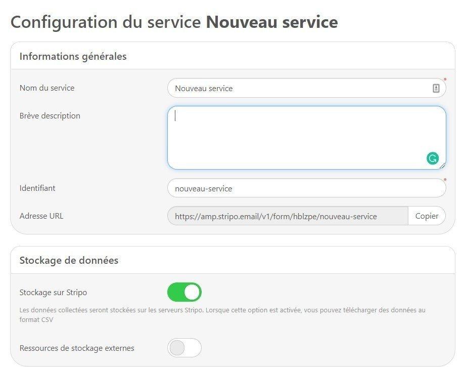 configuration du service fr