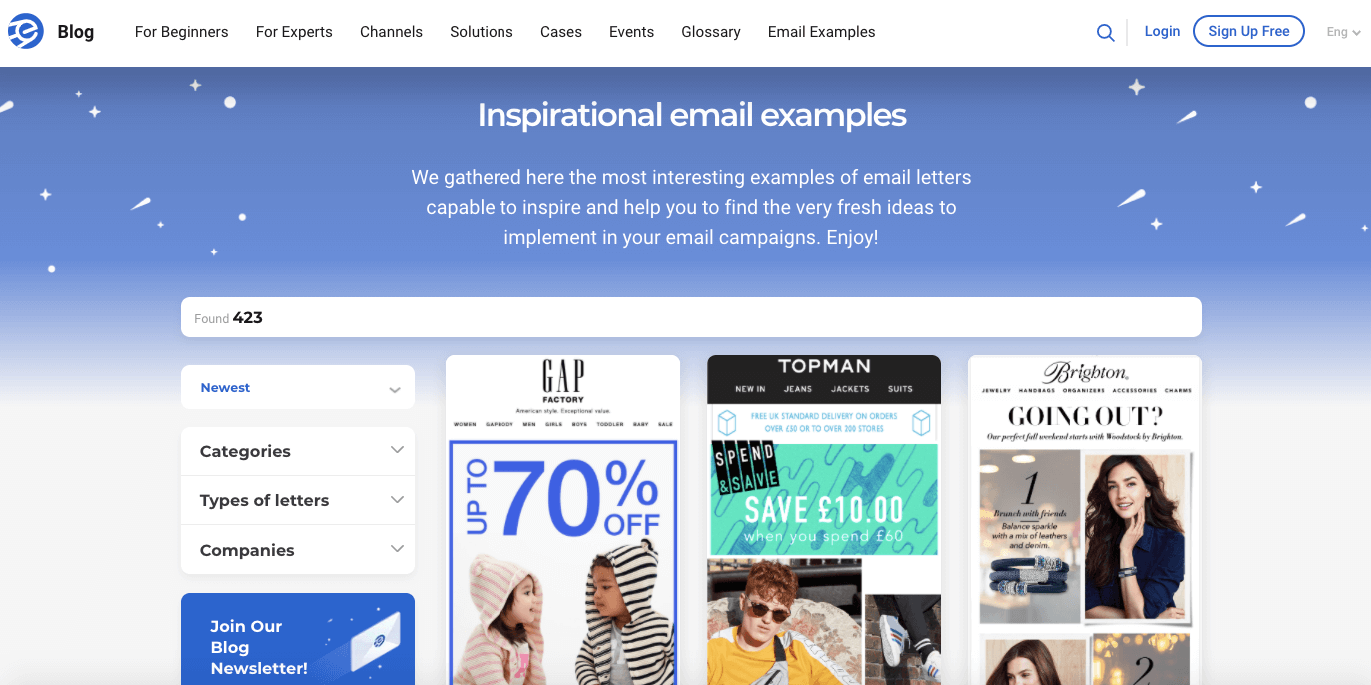 eSputnik_Page with Email Examples