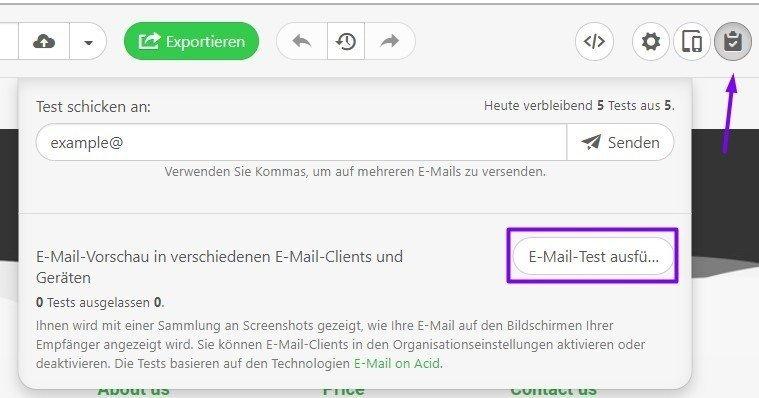 email test de