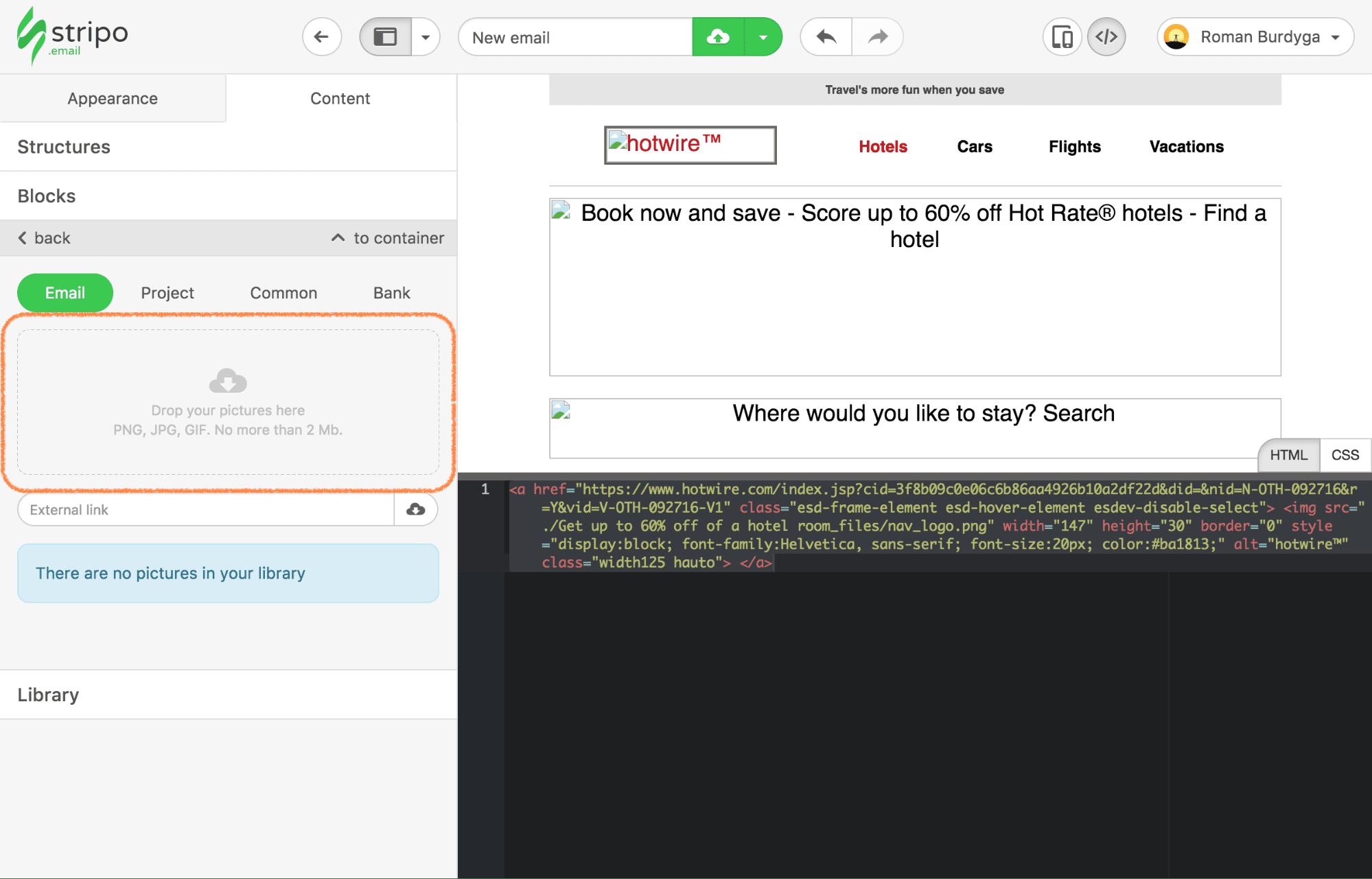 Adaptation of the Custom HTML in Stripo