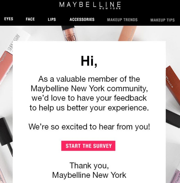 Stripo_Happy Birthday Emails_Questionnaire by Maybelline to Find Out Date of Birth