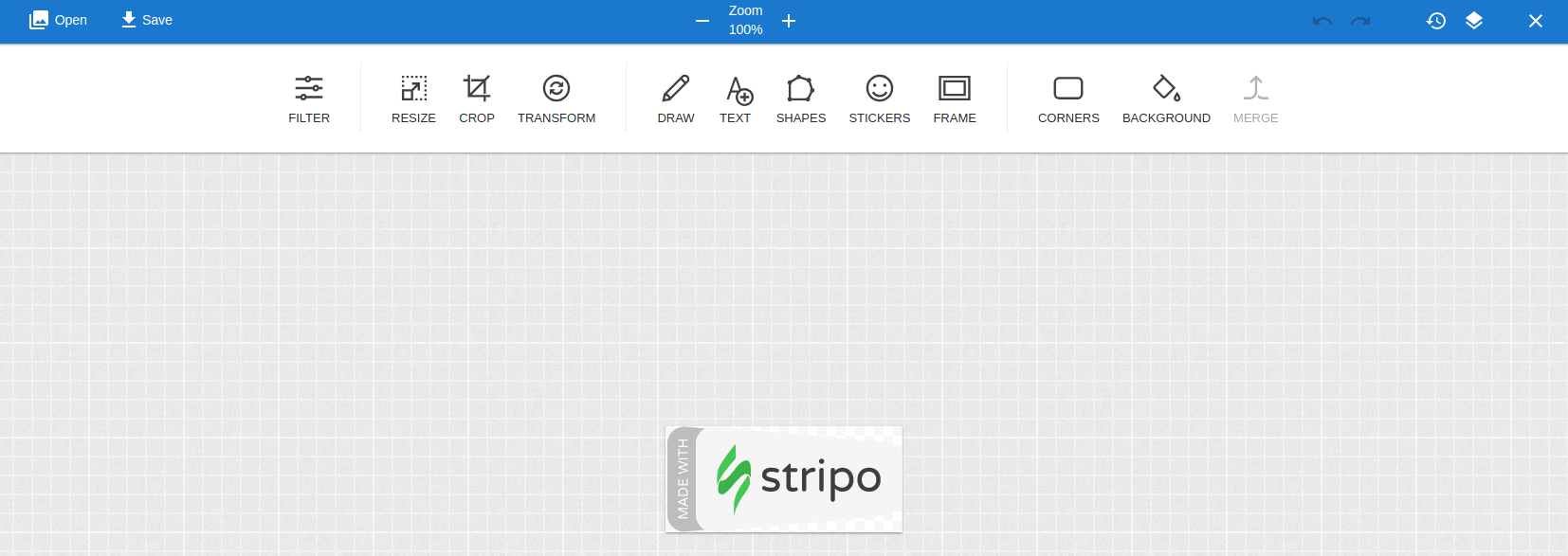 Stripo built-in image editor for designing email templates