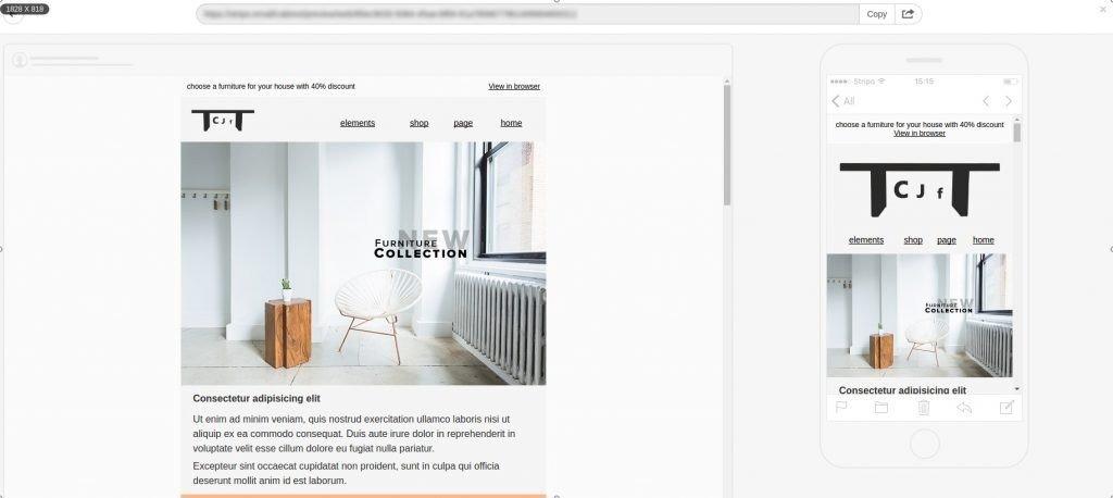 responsive email design, desktop via mobile preview