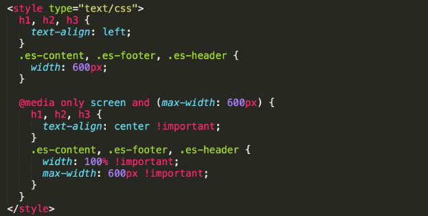 responsive email design, HTML code example
