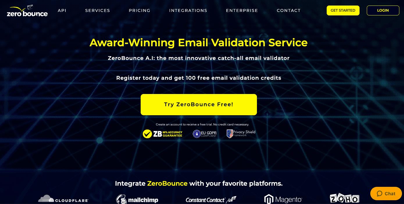 zerobounce_SCreenshot of Landing Page